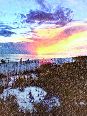 Beach Sunset Art Print by Susan Leggett