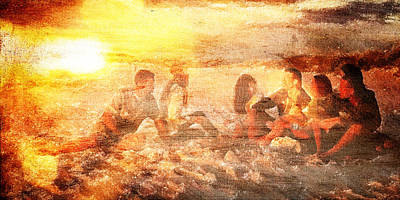 Digital Art - Beach Sunset With Friends by Andrea Barbieri