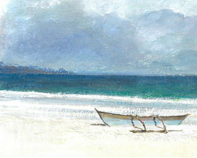 Outrigger Painting - Beach Thalassa by Lincoln Seligman