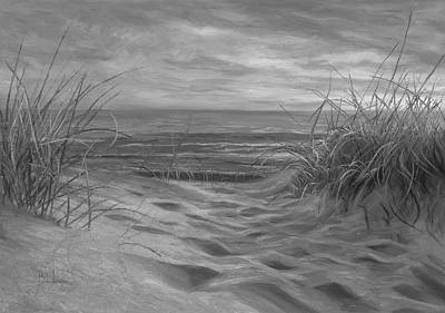 Beach Time Serenade - Black And White Art Print by Lucie Bilodeau
