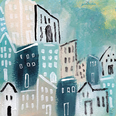 Blue Abstracts Mixed Media - Beach Town- Art By Linda Woods by Linda Woods