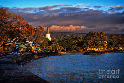 Beach Town Of Kailua-kona On The Big Island Of Hawaii Art Print