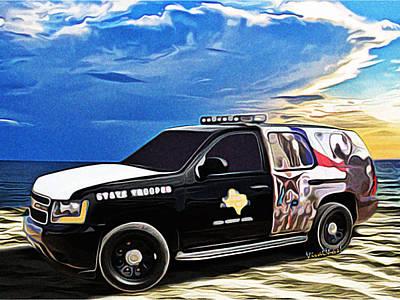 Police Cruiser Digital Art - Beach Trooper 4x4 Cruiser On A Texas Morning by Chas Sinklier