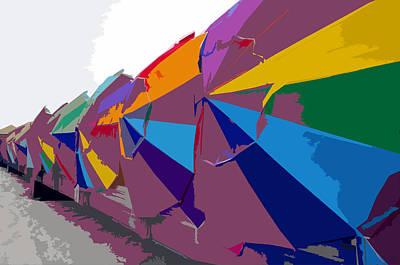 Beach Umbrella Row Art Print by David Lee Thompson
