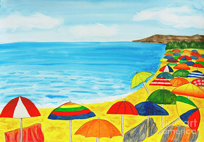 Painting - Beach Umbrellas And Sea by Irina Afonskaya