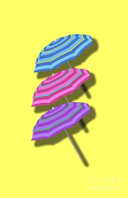 Umbrella Mixed Media - Beach Umbrellas Design by Edward Fielding