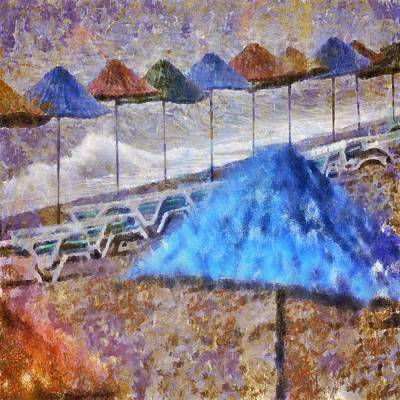 Painting - Beach Umbrellas In Impressionist Style by Tracey Harrington-Simpson