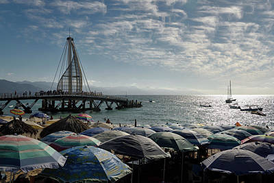 Mexico Photograph - Beach Umbrellas On Los Muertos Beach At The Pier And Sierra Madr by Reimar Gaertner