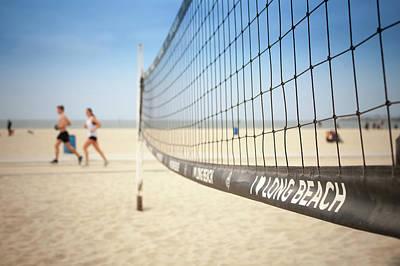 Beach Volleyball Net On The Sand At Long Beach, Ca Art Print by Bradley Hebdon