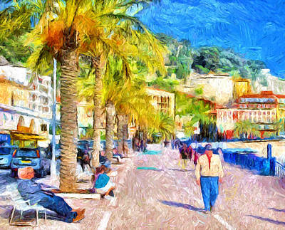 Beach Walk At Nice Art Print