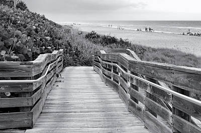 Photograph - Beach Walk - Black And White by Laura Fasulo