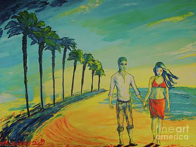 Lovebird Painting - Beach Walk by Lori Gruwell