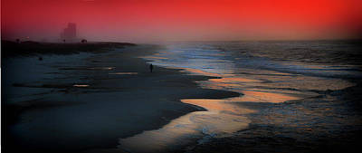 Photograph - Beach Walk Red Sky Panorama by Michael Thomas