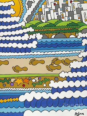 Beach Walk Foot Prints Art Print by Rojax Art