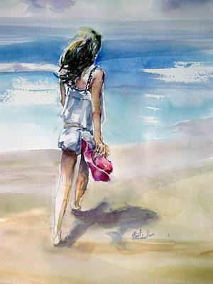 Beach Walk Art Print by Shirley Roma Charlton