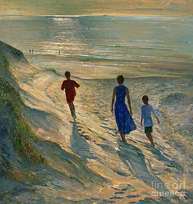 People On Beach Wall Art - Painting - Beach Walk by Timothy Easton