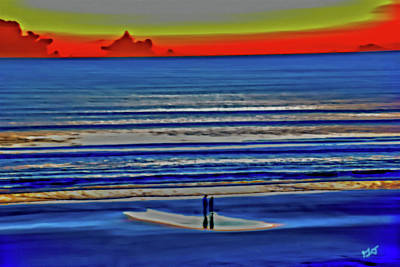 Beach Walking At Sunrise Art Print