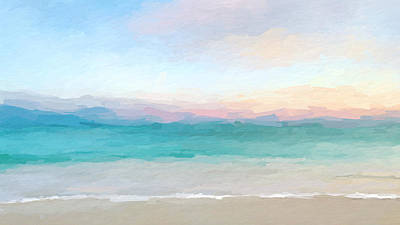Abstract Beach Landscape Digital Art - Beach Watercolor Sunrise by Anthony Fishburne