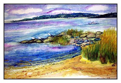 Nature Center Drawing - Beach With Birds by Siona Koubek