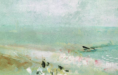 Beach With Figures And A Jetty Art Print by Joseph Mallord William Turner