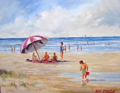 Beach With Umbrella Art Print