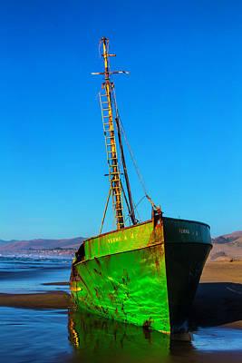 Beached Abandoned Boat Art Print