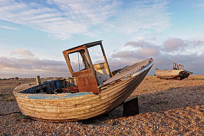 Photograph - Beached - Abandoned Old Fishing Boats At Dungeness by Gill Billington