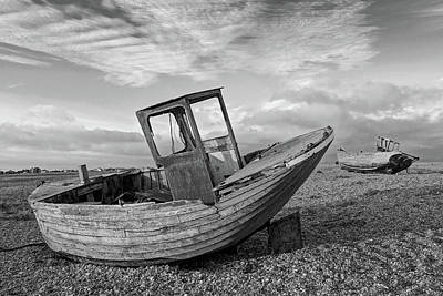 Photograph - Beached - Abandoned Old Fishing Boats At Dungeness In Black And White by Gill Billington