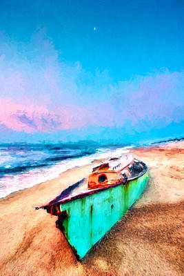 Painting - Beached Boat And Moon On Outer Banks Ap by Dan Carmichael