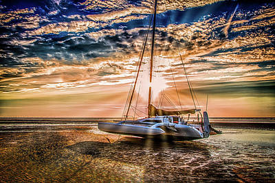 Beached Boat At Sunset Art Print
