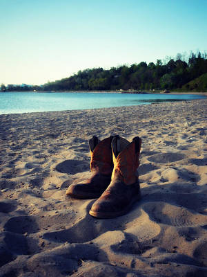 Painting - Beached Boots by Cyryn Fyrcyd