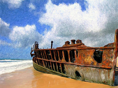 Scow Painting - Beached by Dominic Piperata