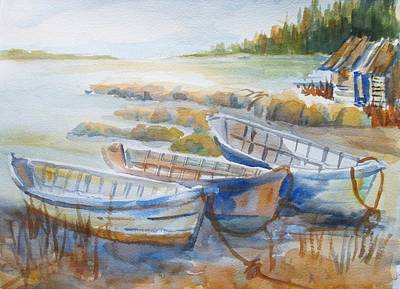 Newengland Painting - Beached Dories by Linda Emerson