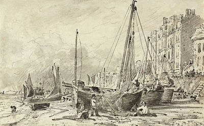 Harbour Drawing - Beached Fishing Boats With Fishermen Mending Nets On The Beach At Brighton, Looking West by John Constable