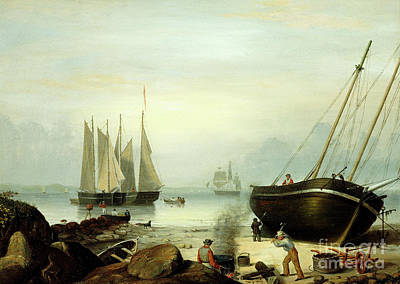 Repair Painting - Beached For Repairs, Duncan's Point, Gloucester, 1848 by Fitz Henry Lane