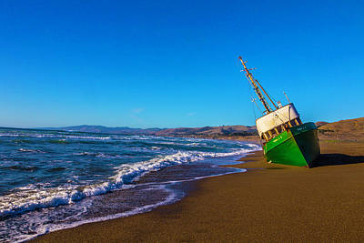 Beached Green Fishing Boat Art Print