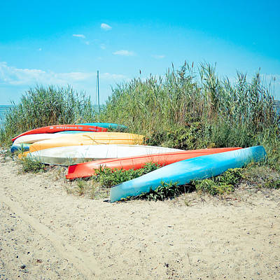 Beached Kayaks Art Print by Colleen Kammerer