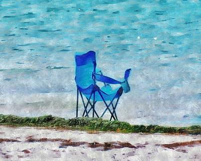 Bay Area Digital Art - Beachside Blues by Tracy Solomon