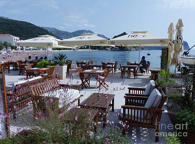 Photograph - Beachside Cafe - Petrovac by Phil Banks