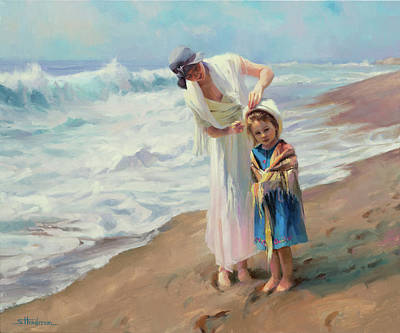 Beach Oil Painting - Beachside Diversions by Steve Henderson