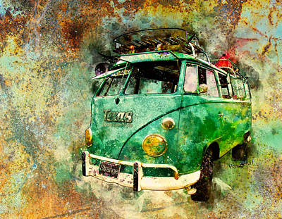 Digital Art - Beachy Rat Rod Surf Bus Watercolour by Chas Sinklier