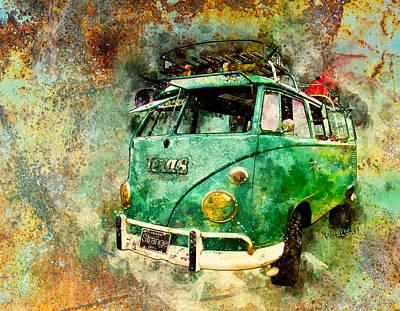 Digital Art - Beachy Rat Rod Surf Bus Watercolour by Chas Sinklier