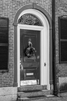 Photograph - Beacon Hill Door Bw by Susan Candelario