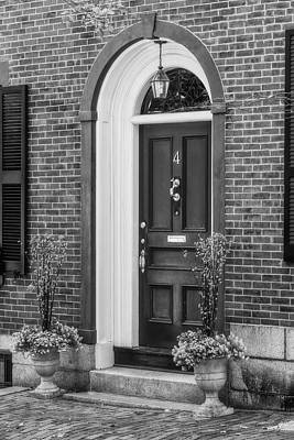 Photograph - Beacon Hill Red Door Bw  by Susan Candelario