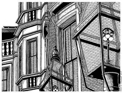 Boston Ma Drawing - Beacon Hill Windows-boston by Conor Plunkett