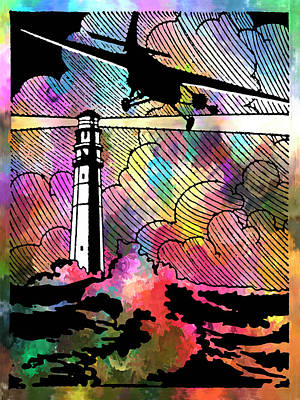 Soaring Mixed Media - Beacon In A Storm - Vintage Lighthouse And Aircraft Art by Rayanda Arts