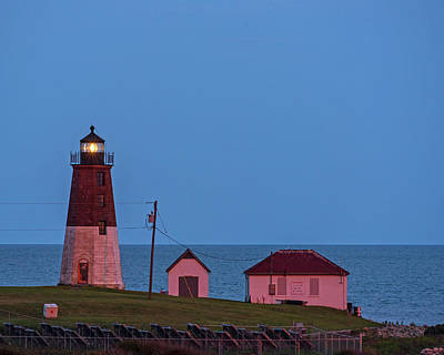 Photograph - Beacon In The Night Judith Point Lighthouse Narragansett Rhode Island Ri Blue Hour by Toby McGuire