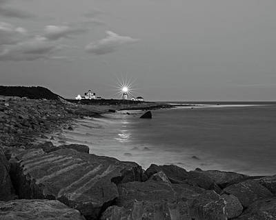 Photograph - Beacon In The Night Judith Point Lighthouse Narragansett Rhode Island Ri Breakwater Black And White by Toby McGuire