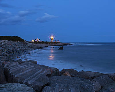 Photograph - Beacon In The Night Judith Point Lighthouse Narragansett Rhode Island Ri Breakwater by Toby McGuire