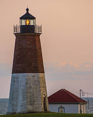 Photograph - Beacon In The Night Judith Point Lighthouse Narragansett Rhode Island Ri Vertical by Toby McGuire